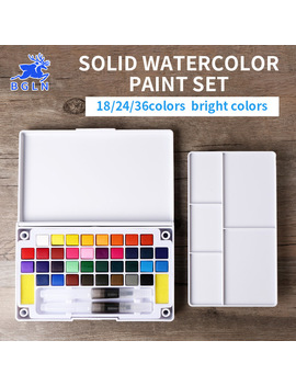 Bgln 18/24/36 Colors Solid Watercolor Paint Set Professional Box With Paintbrush Portable Watercolor Pigment Set Art Supplies by Bgln