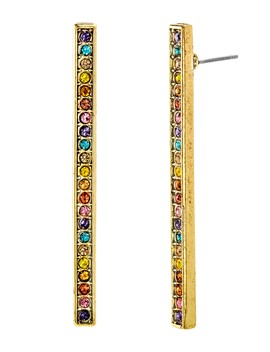 Multi Colored Crystal Bar Earrings by Steve Madden