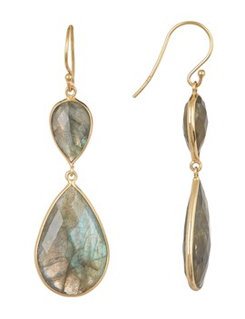 18 K Gold Plated Sterling Silver Double Labradorite Dangle Earrings by Argento Vivo
