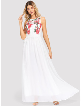 Flower Embroidered Sleeveless Maxi Dress by Shein