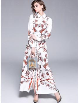 Tree Print Longline Shirt Dress by Sheinside
