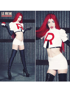 Team Rocket Jessie Pvc Costume W/ Skirt + Shiny Blk Tank From Artifice (Xs Xl) by Artifice Clothing