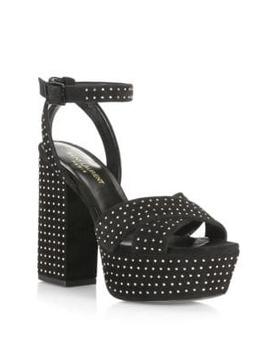 Farrah Suede Platform Sandals by Saint Laurent