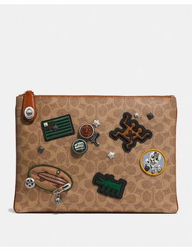 Coach X Keith Haring Turnlock Pouch In Signature Patchwork by Coach