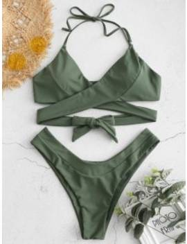 Wrap High Cut Bikini Set   Medium Forest Green S by Zaful