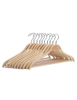 Js Hanger Solid Natural Wooden Coat Shirt Hangers With Non Slip Pant Bar, 10 Pack by Js Hanger