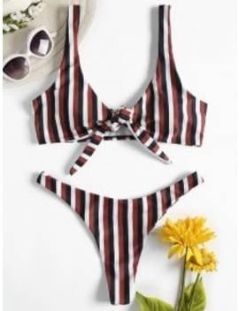 Striped Bowknot Thong Bikini Set   Multi A M by Zaful