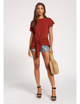 Rust Side Tie Pointed Tee by Love Culture