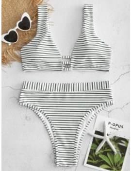 High Cut Striped High Waisted Bikini Set   Deep Green L by Zaful