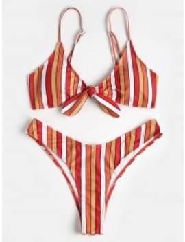 Contrast Stripe Knotted High Leg Bikini   Multi L by Zaful