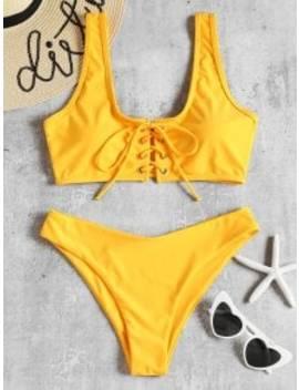 Lace Up Padded Bikini Set   Bright Yellow S by Zaful