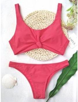 Knotted Scoop High Cut Bathing Suit   Watermelon Pink L by Zaful