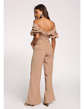 Taupe Ruched Puff Sleeve Off Shoulder Jumpsuit by Love Culture
