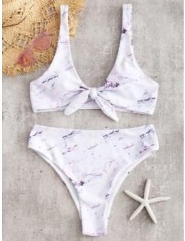 Marble Knotted High Leg Bikini Set   White M by Zaful