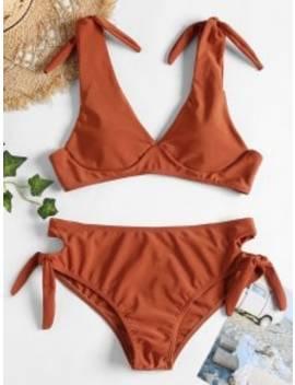 Low Cut Knot Bikini   Chestnut Red M by Zaful