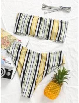 Striped High Leg Bikini Set   L by Zaful