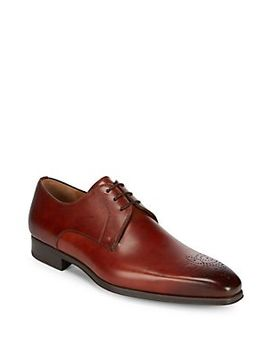 Leather Monk Strap Brogue Shoes by Saks Fifth Avenue By Magnanni