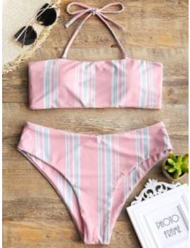 Striped Halter Swim Top And High Cut Bottoms   Shallow Pink S by Zaful
