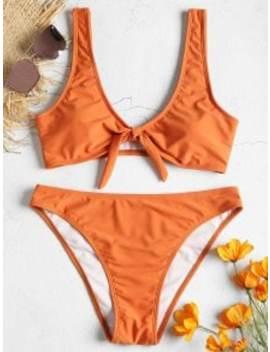 High Leg Tie Front Bikini Set   Papaya Orange M by Zaful
