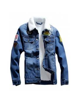 "<P>Chest Pocket Flocking Patched Denim Jacket</P><I Class=""Icon Down Js Tap Up Down""></I> by Dress Lily"