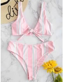 High Cut Tie Front Striped Bikini Set   Light Pink M by Zaful
