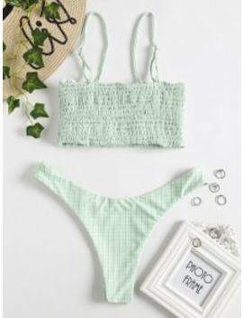 Smocked Grid Bikini Set   Mint Green L by Zaful