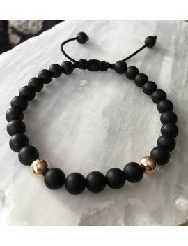 Unique 6mm Matte Black Onyx Stone With 14k Yellow Gold Filled Ball Bead Adjustable Closure On Black Nylon Cord Bracelet by Jn Bracelets