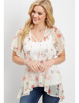 Embroidered Mesh Button Front Cardigan by Maurices