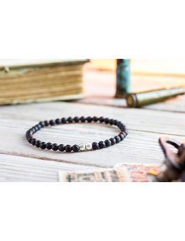 4mm   Matte Black Faceted Onyx Beaded Stretchy Bracelet With Sterling Silver Beads, Made To Order Mens Bead Bracelet, Elegant Mens Bracelet by Straps Bracelets