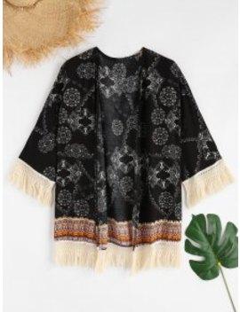 Printed Tassels Kimono   Black M by Zaful