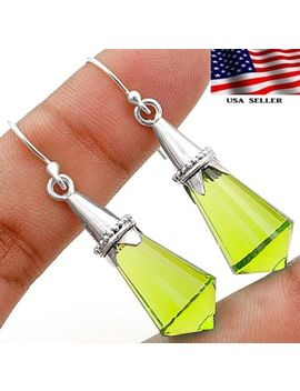 16 Ct Peridot 925 Sterling Silver Earrings Jewelry by Old English Silver