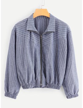 Striped Zip Up Jacket by Romwe