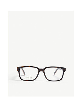 Gg0272 O Tortoiseshell Rectangle Glasses by Gucci
