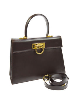 Auth Salvatore Ferragamo Gancini 2way Hand Bag Dark Brown Leather Vintage V20430 by Salvatore Ferragamo