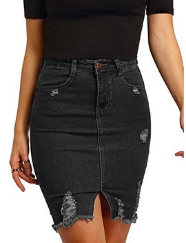 Make Me Chic Women's Basic Casual Ripped Pocket Short Mini Denim Skirt by Make Me Chic
