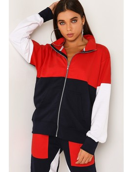 Navy Colour Block Tracksuit Jacket by Lasula