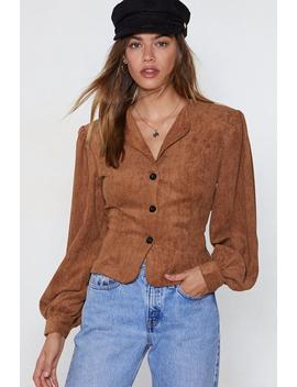 Slaying Those Cords Puff Sleeve Shirt by Nasty Gal