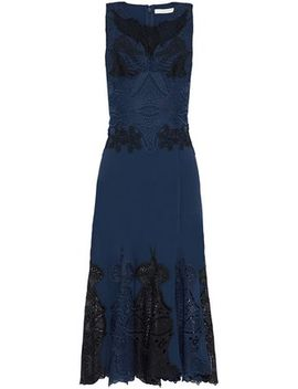 Guipure Lace Paneled Crepe Dress by Jonathan Simkhai