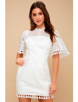 Spectrum White Embroidered Mini Dress by Lulu's