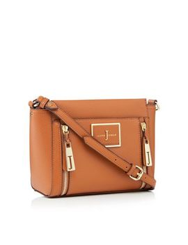 J By Jasper Conran   Tan Faux Leather Double Zip Cross Body Bag by J By Jasper Conran