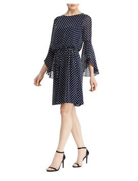 Flutter Sleeve Dot Jacquard Dress by Lauren Ralph Lauren