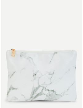 Marble Pattern Pouch by Sheinside