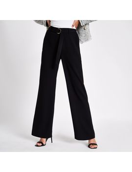 Black Slim Wide Leg Belted Trousers by River Island