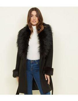 Black Faux Fur Collar And Cuffs Coat by New Look