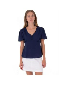 Misstruth   Navy Button Detail Peplum Chiffon Top by Misstruth