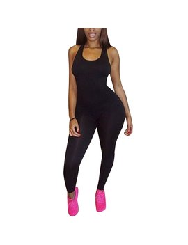 The Found Women's Basic Sleeveless Tank Jumpsuit Bodycon Long Pants by The Found
