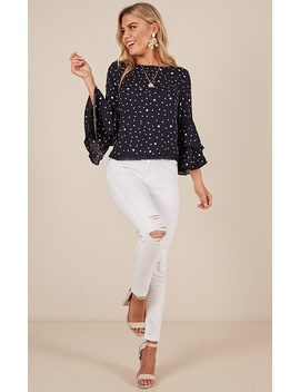 Wild Streak Top In Navy Polkadot by Showpo Fashion