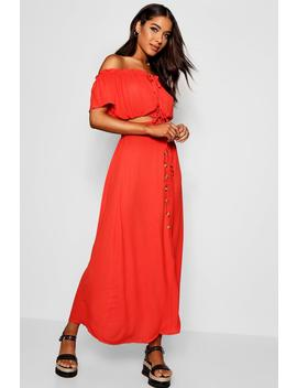 Tortoise Shell Button Skirt And Top Co Ord by Boohoo