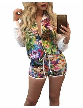 Women's Floral 2 Pieces Outfit   Long Sleeve Jacket + Shorts Set Rompers by Dreamparis