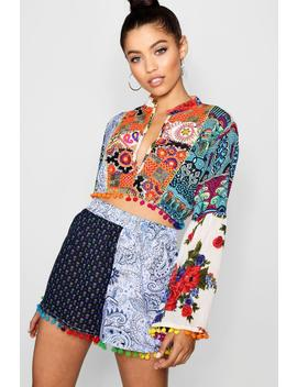 Embroidered Crop Top And Short Co Ord by Boohoo